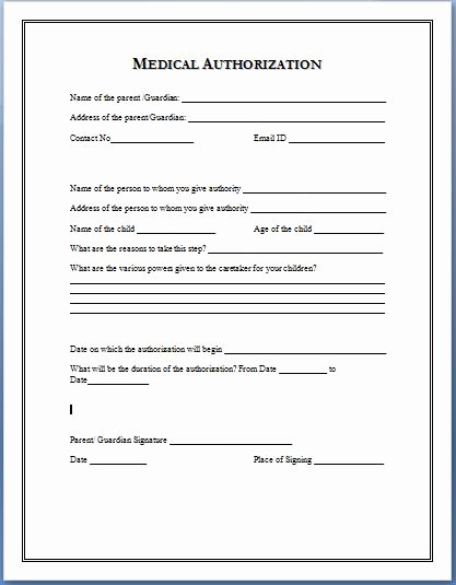 Medical Information form Template Inspirational Medical Authorization form
