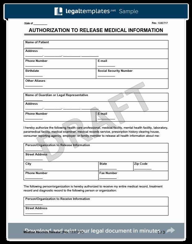 Medical Information form Template Inspirational Medical Records Release form