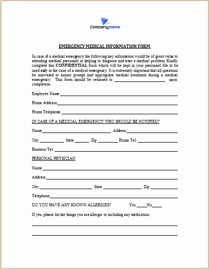 Medical Information form Template Lovely Emergency Medical Information form