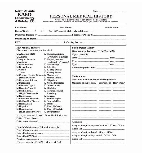 Medical Information form Template Lovely Free 21 Sample Medical History forms
