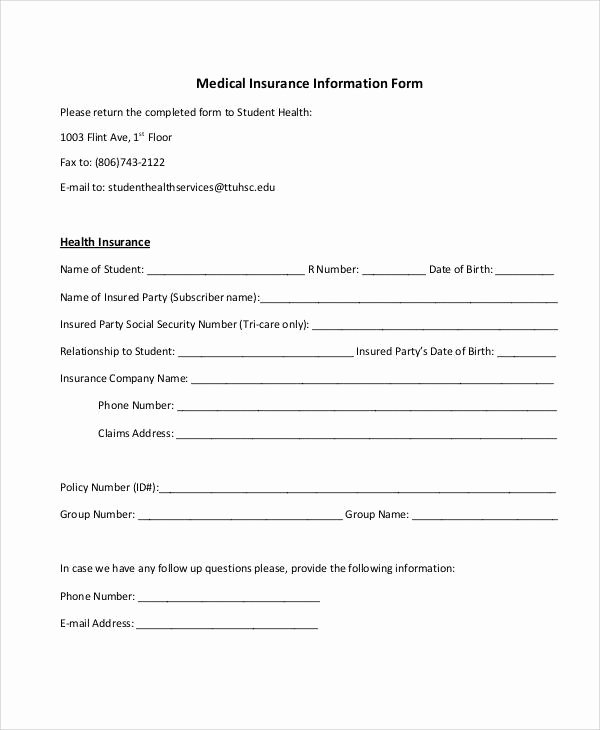 Medical Information form Template New Printable Medical forms