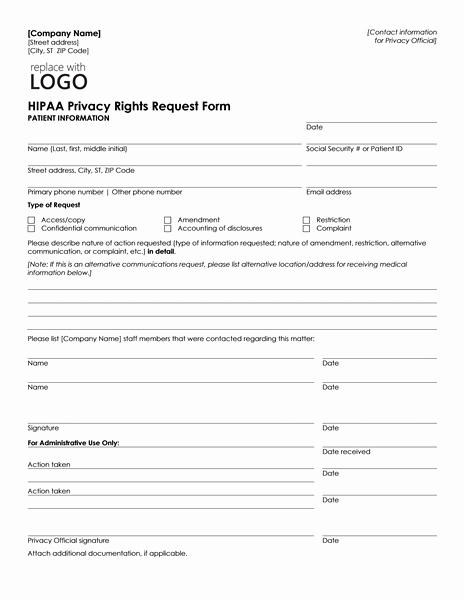 Medical Information form Template Unique Patient Health Information Request form Can Be Used by