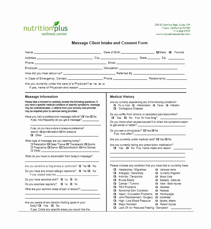 Medical Intake form Template Awesome 59 Best Massage Intake forms for Any Client Printable