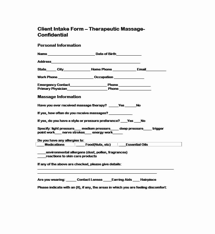 Medical Intake form Template Beautiful 59 Best Massage Intake forms for Any Client Printable