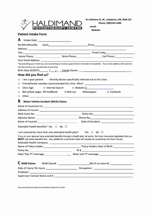 Medical Intake form Template Beautiful Patient Intake form Printable Pdf