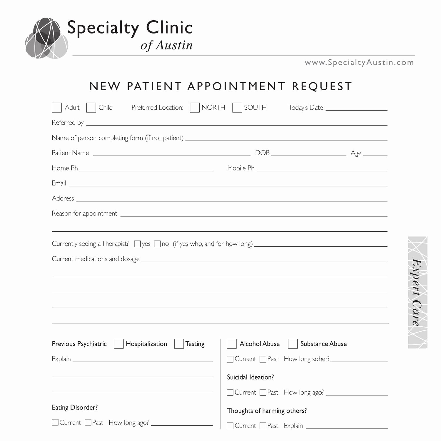 Medical Intake form Template Elegant New Patient Intake form Editable Pdf