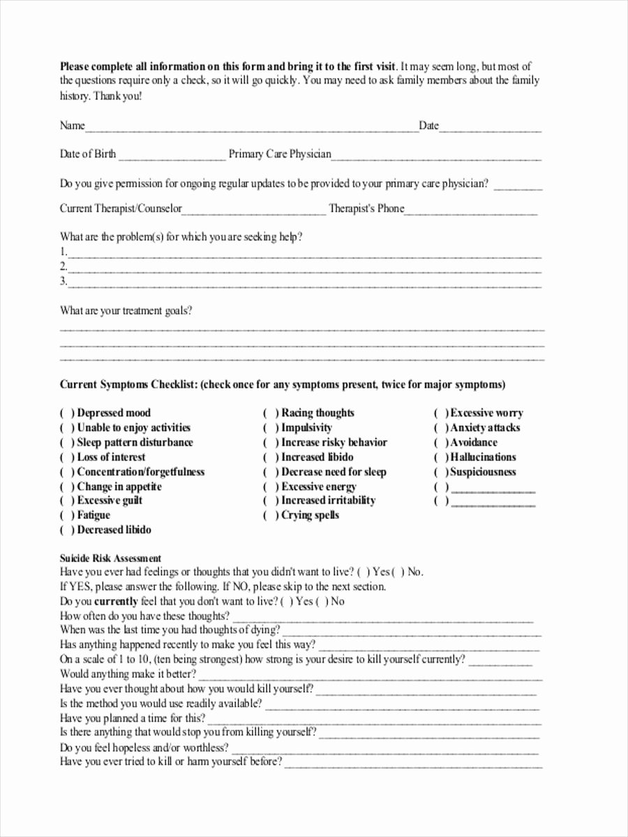 Medical Intake form Template Inspirational Free 7 Mental Health assessment forms In Samples