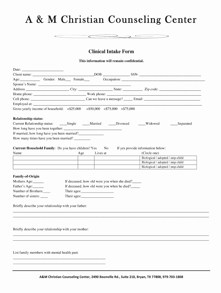 Medical Intake form Template Luxury Counseling Intake form Fill Line Printable Fillable