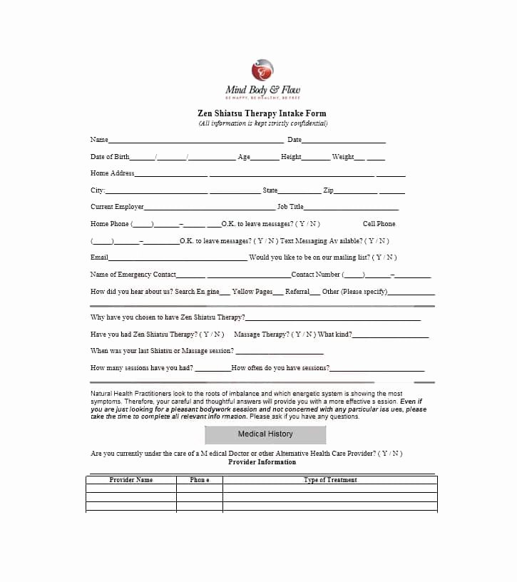 Medical Intake form Template Unique 59 Best Massage Intake forms for Any Client Printable
