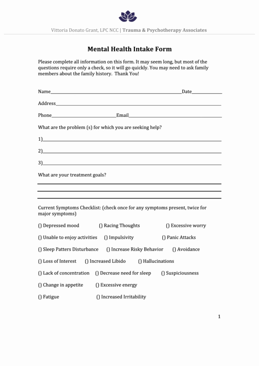 Medical Intake form Template Unique Mental Health Intake form Printable Pdf