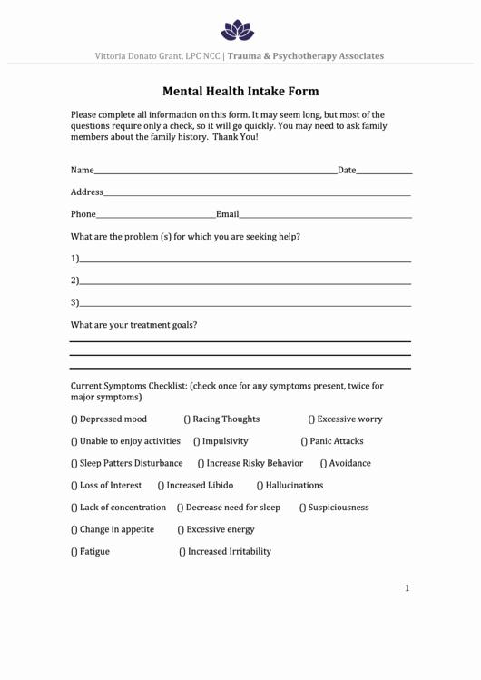 Medical Intake forms Template Beautiful Mental Health Intake form Printable Pdf