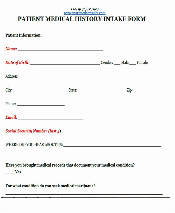 Medical Intake forms Template Best Of 43 Sample Medical forms In Pdf