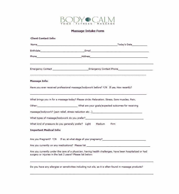 Medical Intake forms Template Luxury 59 Best Massage Intake forms for Any Client Printable