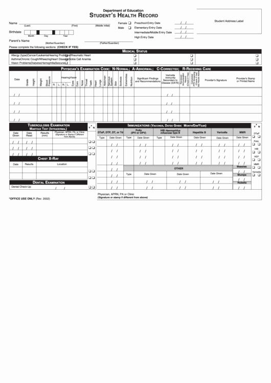 Medical Record forms Template Awesome Student Health Record Printable Pdf