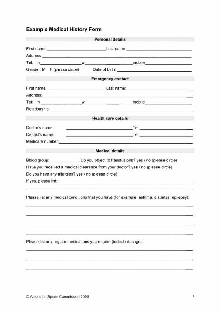 Medical Record forms Template Beautiful 67 Medical History forms [word Pdf] Printable Templates