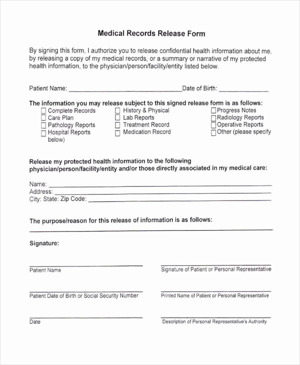 Medical Record forms Template Fresh 24 Medical Release form Templates