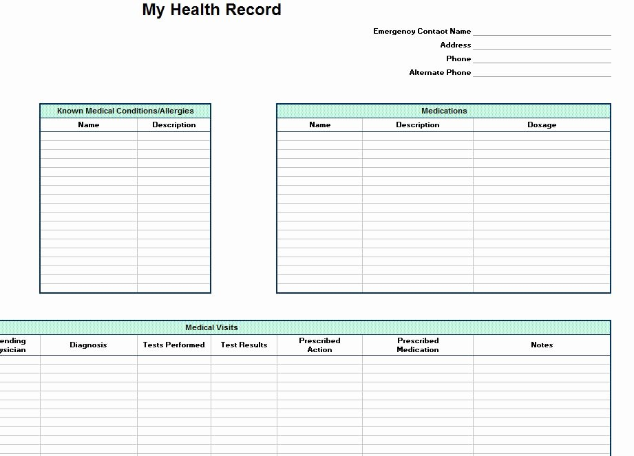 Medical Record forms Template Lovely Personal Health Record Template