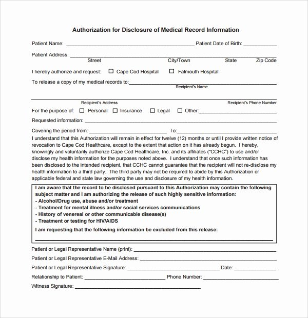Medical Record forms Template Lovely Sample Medical Record Request forms 6 Download Free