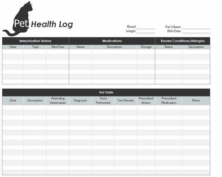 Medical Record forms Template Luxury Printable Pet Health Record Free Printable Medical forms