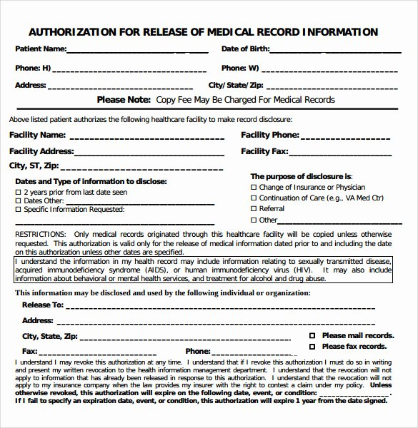 Medical Record forms Template Luxury Sample Medical Record Request forms 6 Download Free