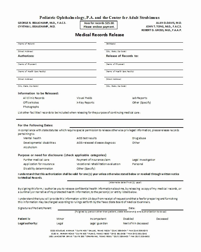 Medical Record forms Template New 30 Medical Release form Templates Free Template Downloads