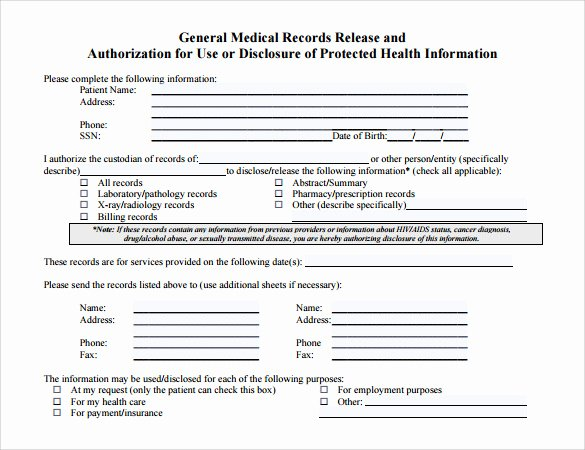Medical Record forms Template New Medical Records Release form 10 Free Samples Examples