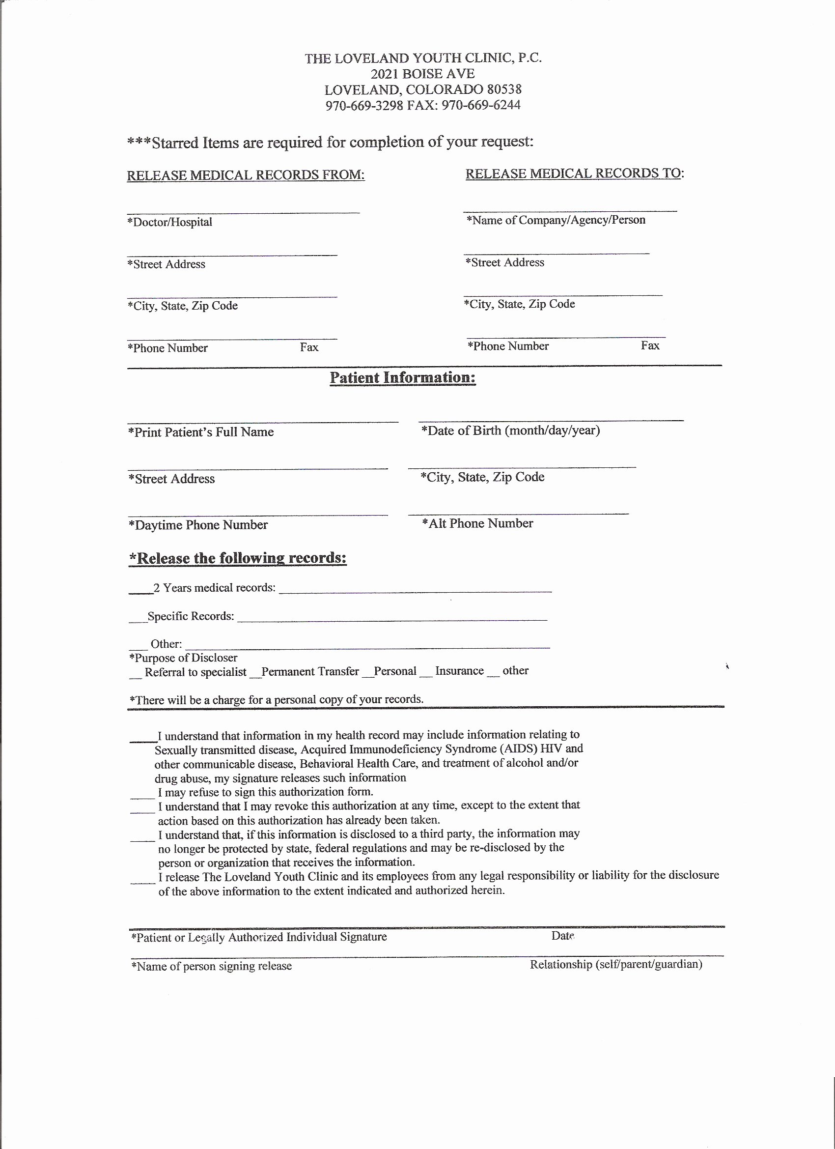 Medical Record forms Template New Medical Records Release form