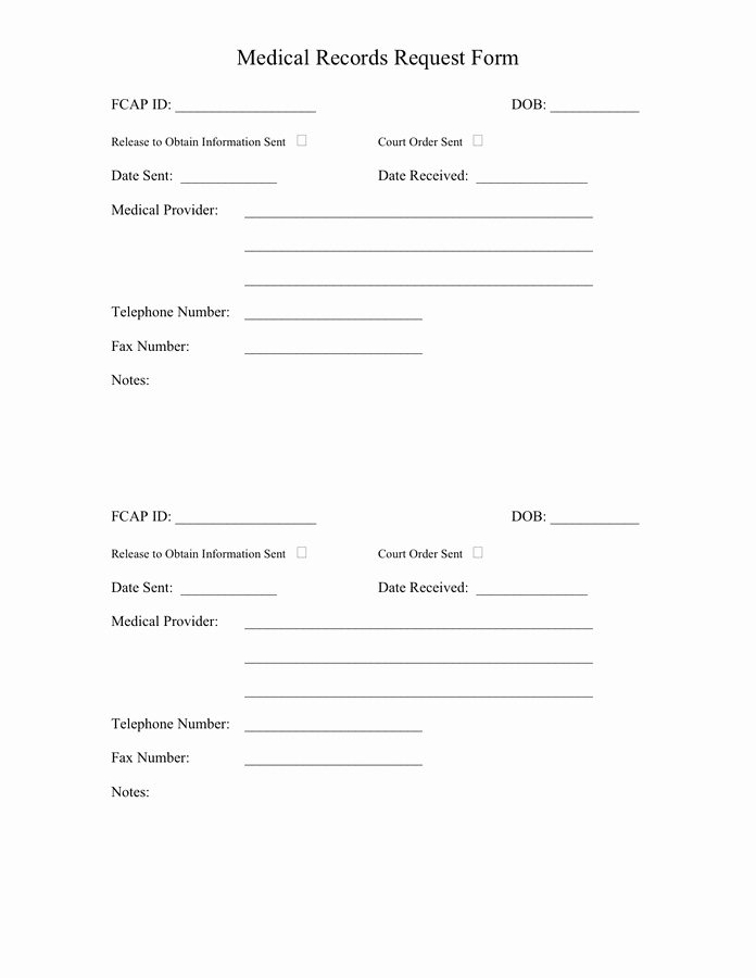 Medical Record forms Template New Medical Records Request form In Word and Pdf formats
