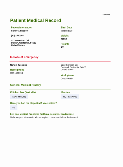 Medical Record forms Template New Patient Medical Record Template Pdf Templates
