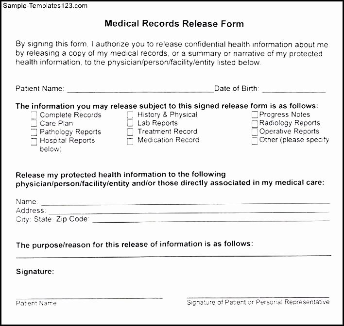 Medical Record forms Template Unique Medical Records Release form Template – Templates Free