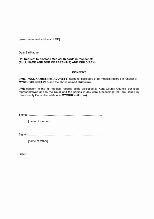 Medical Record forms Template Unique Request to Disclose Medical Records Template In Word and
