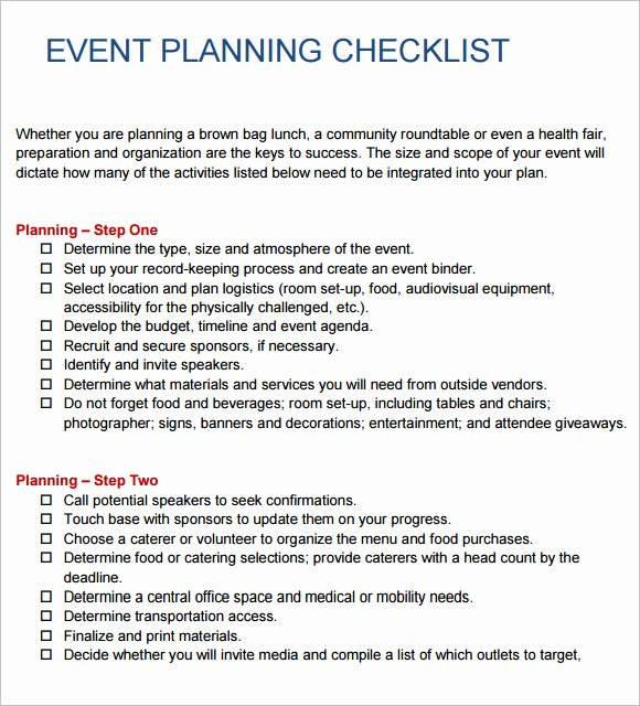 Meeting Planner Checklist Template Best Of Free 16 Sample event Planning Checklist Templates In