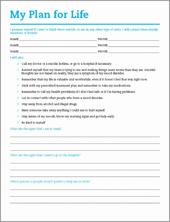 Mental Health Crisis Plan Template New 26 Suicide Safety Plan Template Printable Mental Health