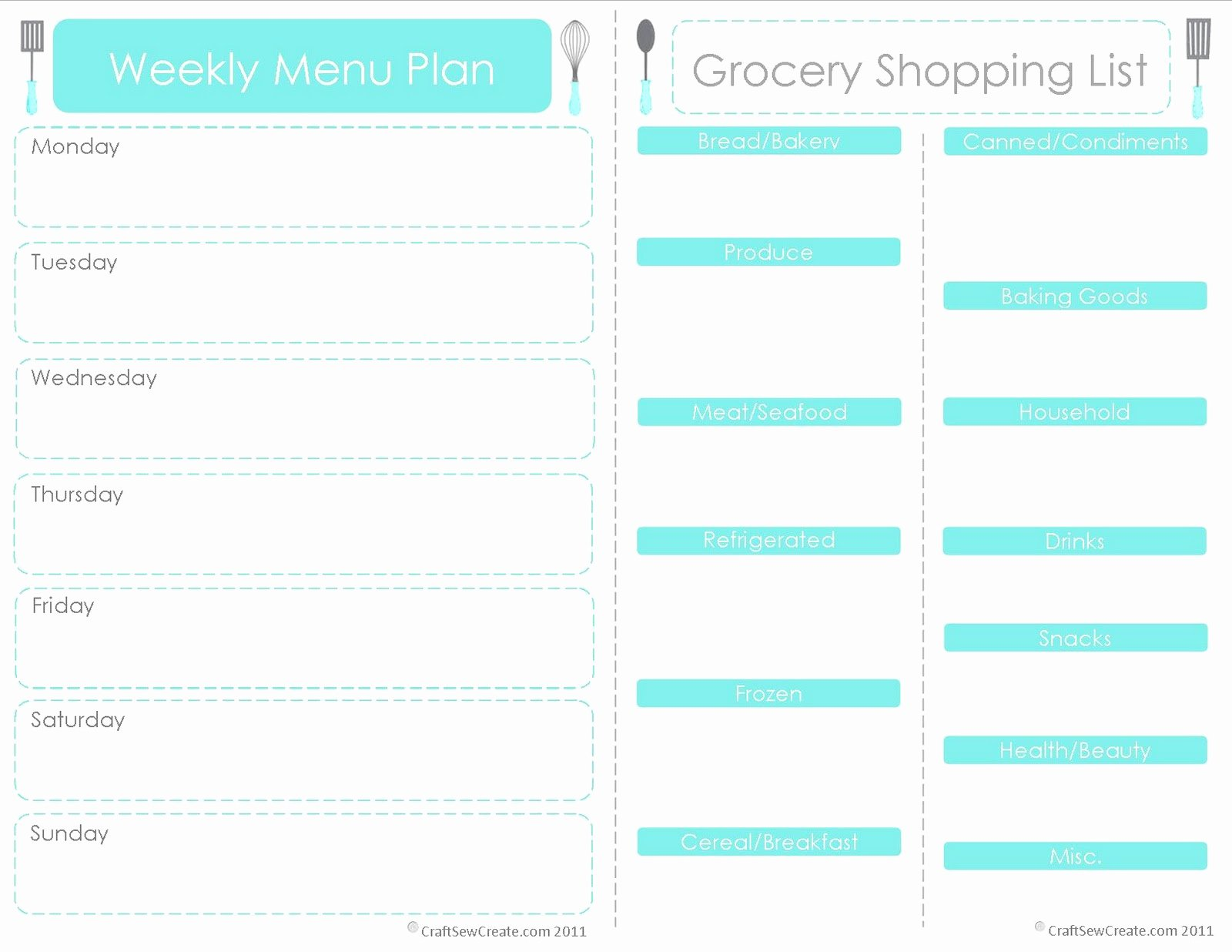Menu Planner Template Free Beautiful Craft Sew Create Free Printable Menu Plan Shopping List