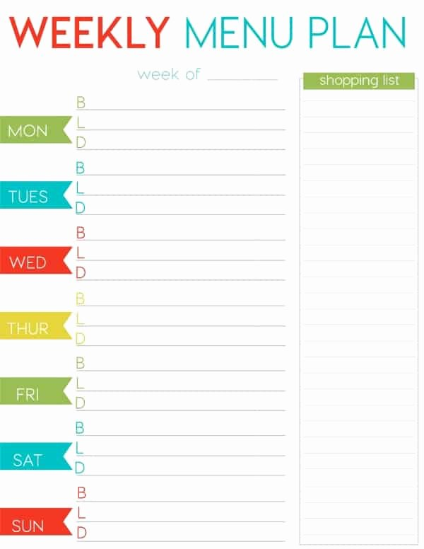 Menu Planner Template Free Beautiful Free Weekly Menu Planner Printable