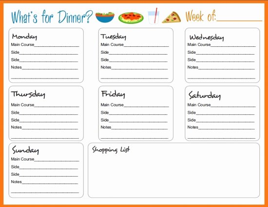 Menu Planner Template Free Beautiful Weekly Menu Template
