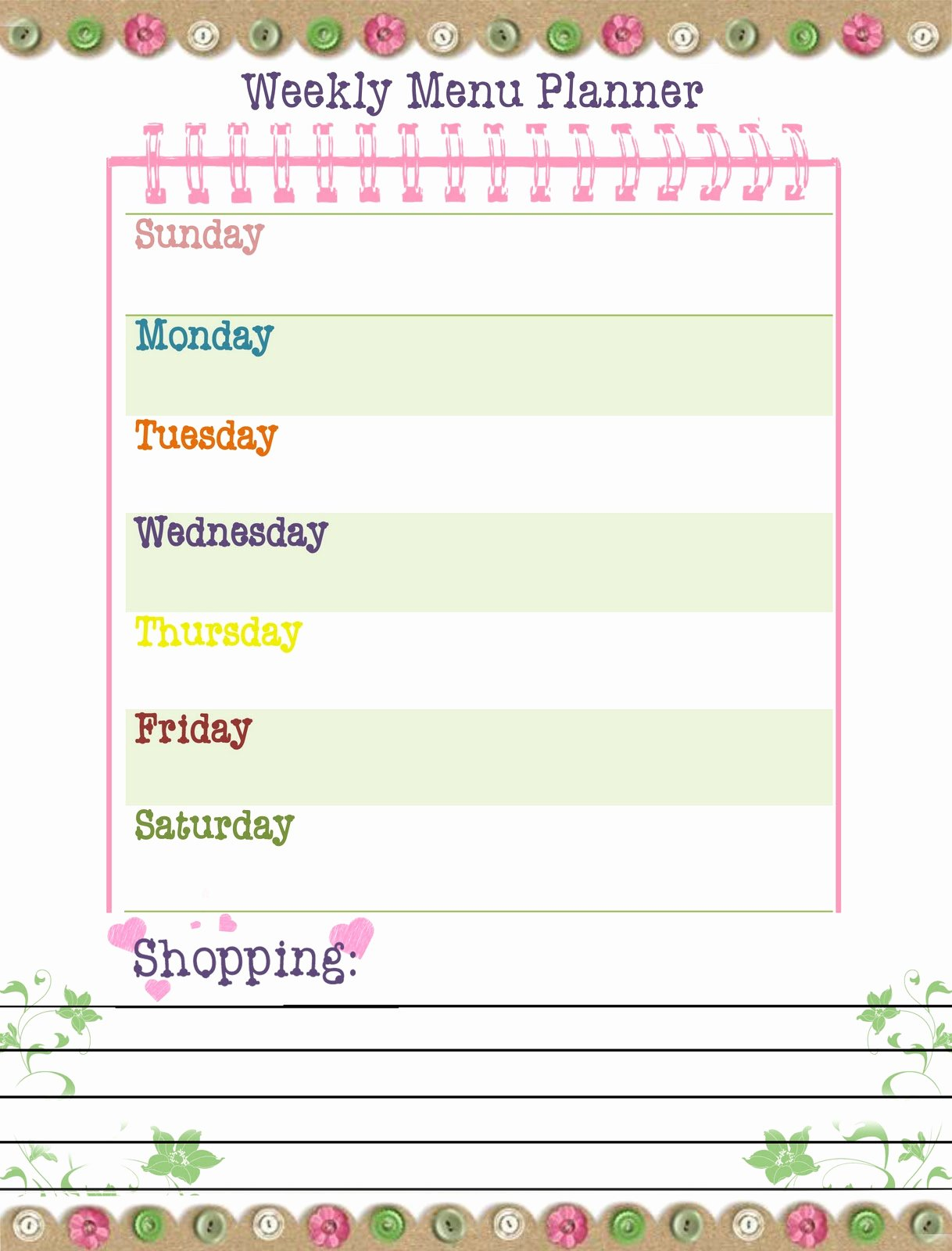 Menu Planner Template Free Inspirational Our Way to Learn Weekly Menu Planner Free Printable