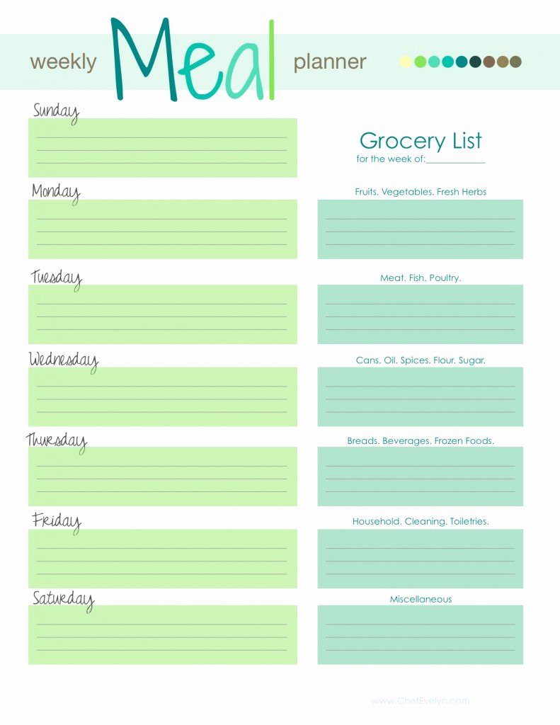 Menu Planner Template Free Luxury Weekly Menu Template