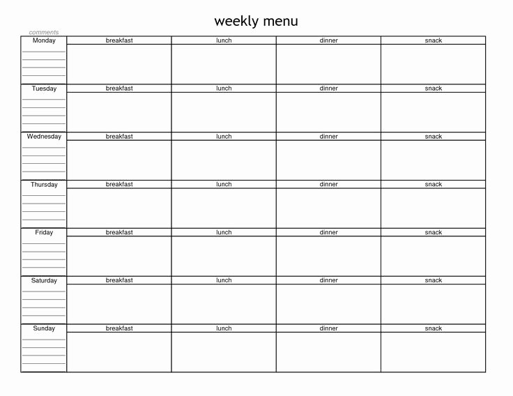 Menu Planner Template Printable Awesome Blank Weekly Menu Planner Template