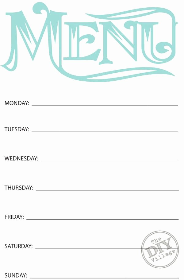 Menu Planner Template Printable Awesome Free Printable Weekly Menu Planner