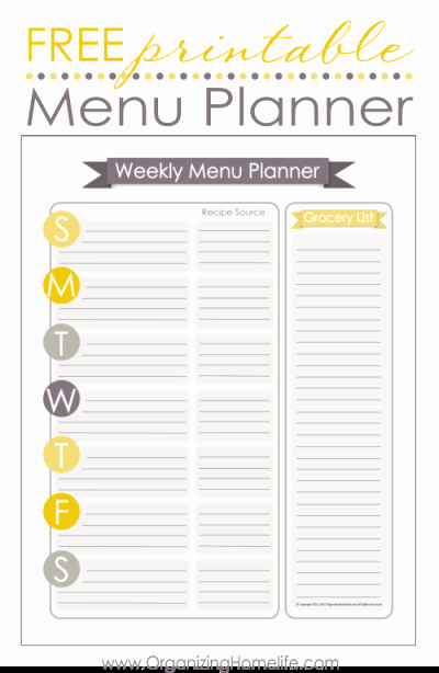 Menu Planner Template Printable Best Of the Rustic Redhead Grocery List & Weekly Menu Printables