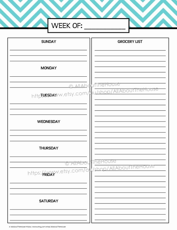 Menu Planner Template Printable Best Of Weekly Meal Planner Printable Chevron Blue Menu Planner