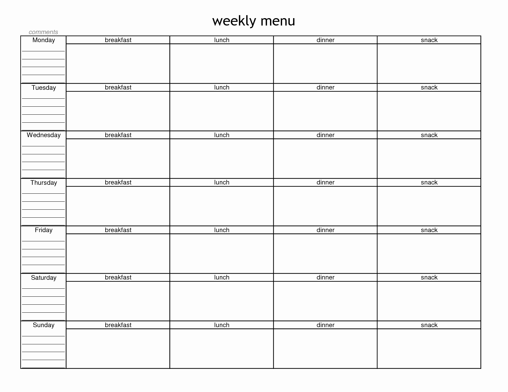 Menu Planner Template Printable Fresh Blank Weekly Menu Planner Template In 2019
