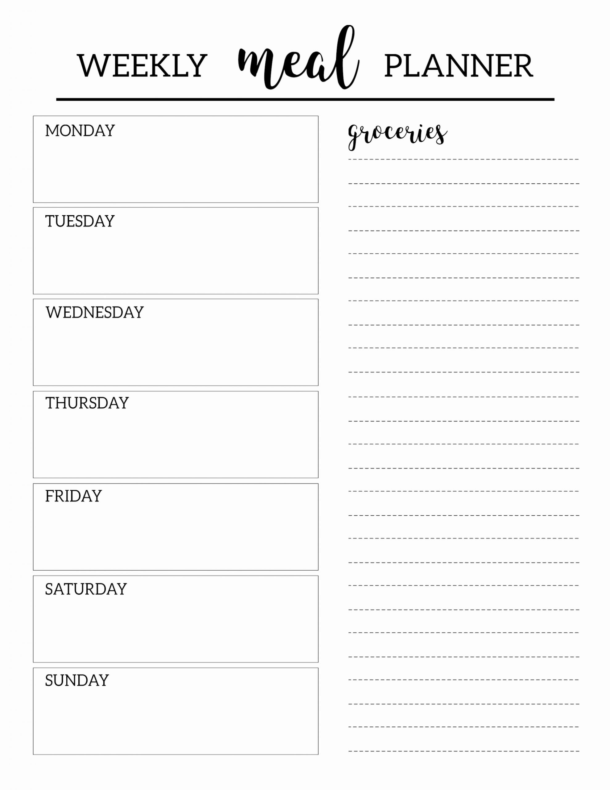 Menu Planner Template Printable Fresh Free Printable Meal Planner Template