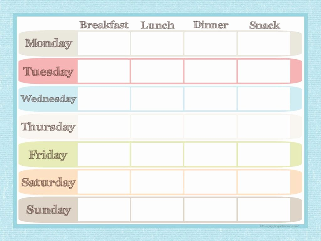 Menu Planner Template Printable Inspirational Menu Planner and Grocery List Printable Set Juggling Act