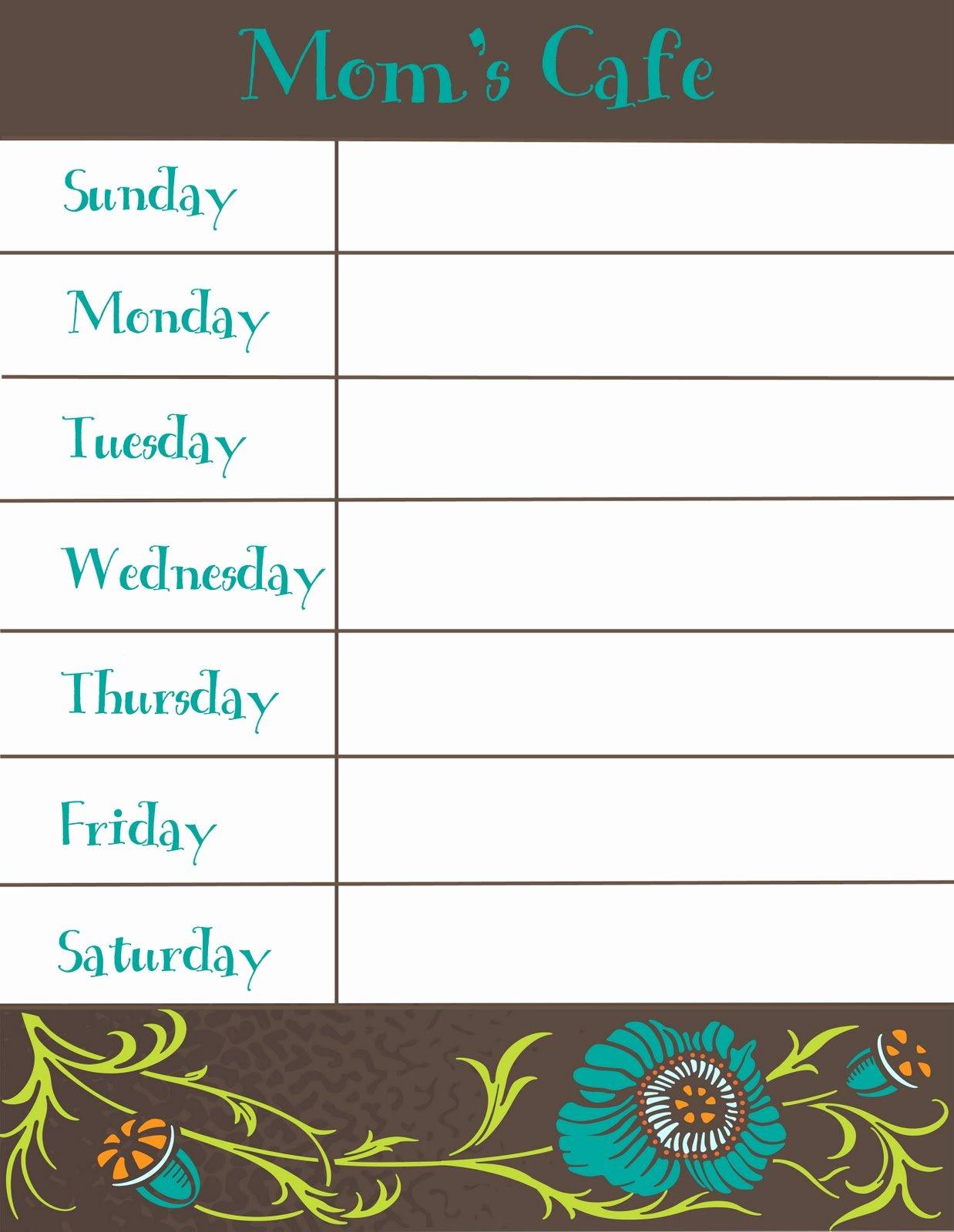 Menu Planner Template Printable Lovely therapeutic Crafting Weekly Menu Printable