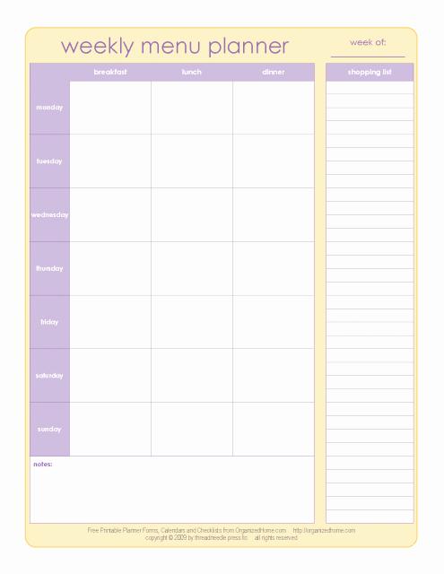Menu Planner Template Printable Luxury 20 Free Menu Planner Printables