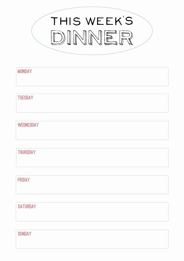 Menu Planner Template Printable Luxury Printable Menu Template to Make the Planning Of Next