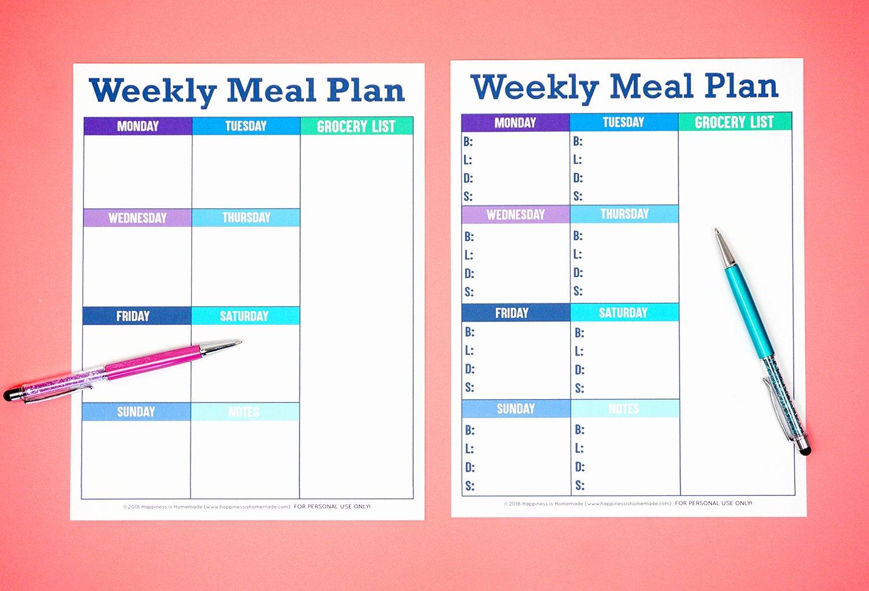 Menu Planner Template Printable Luxury Printable Weekly Meal Planner Template Happiness is Homemade