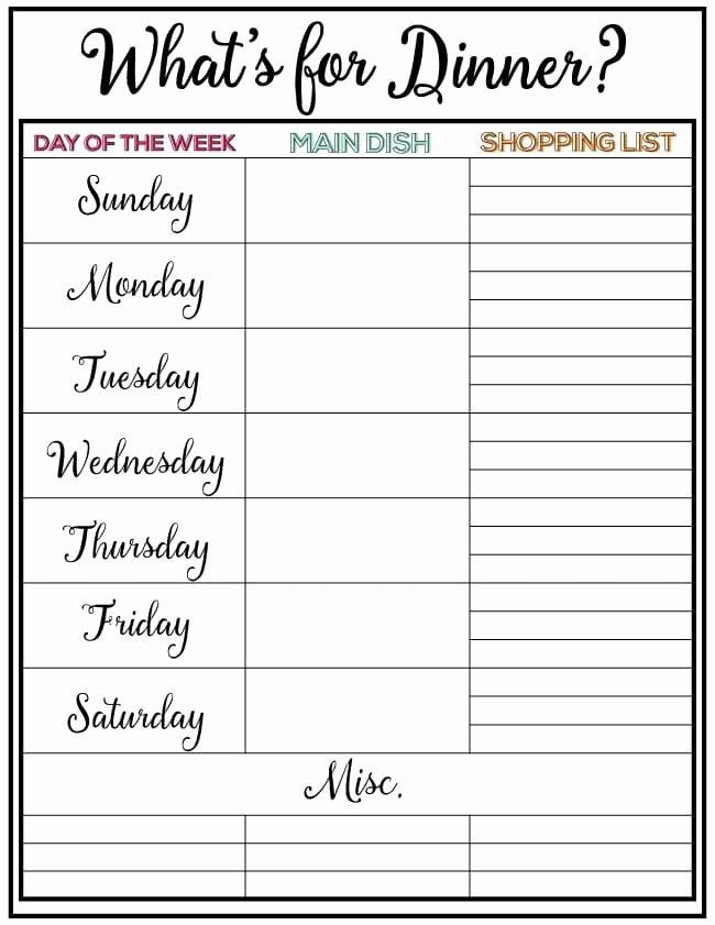 Menu Planner Template Printable Luxury Weekly Menu Plan 34